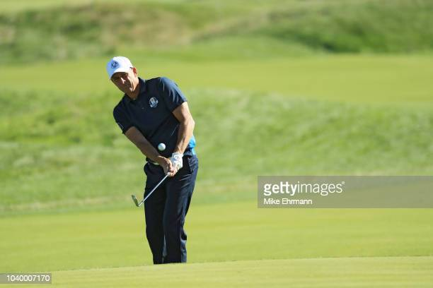 Guy Forget of Team Europe chips during the celebrity challenge match ahead of the 2018 Ryder Cup at Le Golf National on September 25 2018 in Paris...