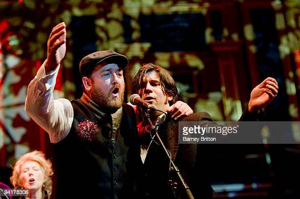 Guy Garvey and Ed Harcourt perform on stage as part of the Not So Silent Night concert at Royal Albert Hall on December 9 2009 in London England