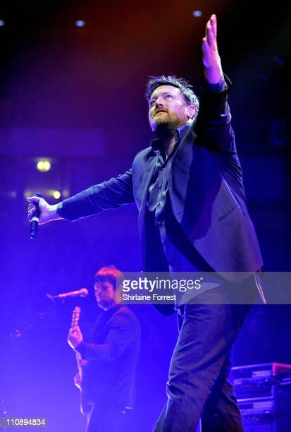 Guy Garvey of Elbow performs a homecoming show at MEN Arena on March 25 2011 in Manchester England
