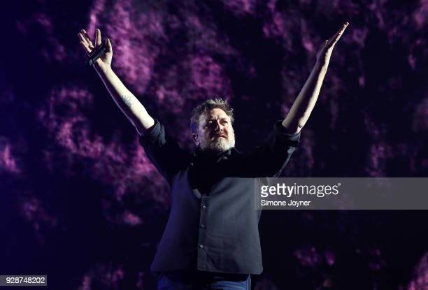 Guy Garvey of Elbow performs live on stage at The O2 Arena on March 7 2018 in London England