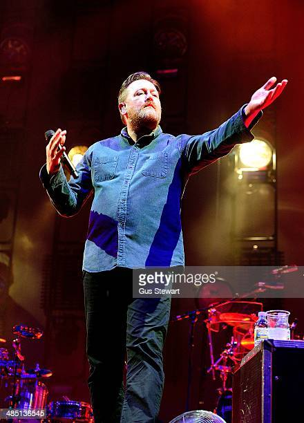 Guy Garvey of Elbow performs on stage at O2 Arena on April 16 2014 in London United Kingdom