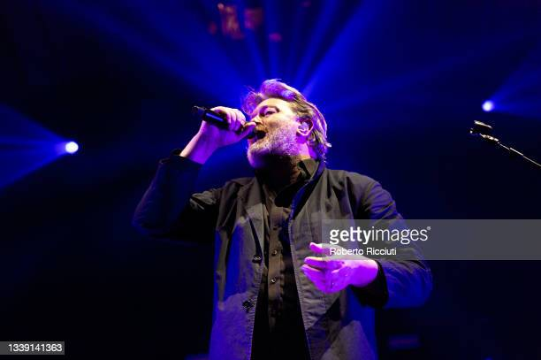 Guy Garvey of Elbow performs on stage at Usher Hall on September 08, 2021 in Edinburgh, Scotland.