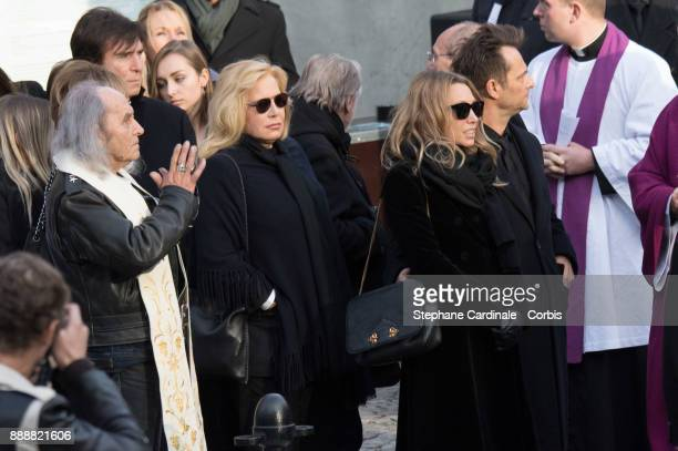 Guy Gilbert Sylvie Vartan Laura Smet and David Hallyday are seen after the Johnny Hallyday's Funeral at Eglise De La Madeleine on December 9 2017 in...