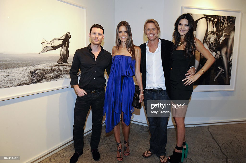 Guy Hepner, Alessandra Ambrosio, Russell James and Kendall Jenner attend Nomad Two Worlds and Russell James Private Reception at Guy Hepner Gallery on April 24, 2013 in Hollywood, California.