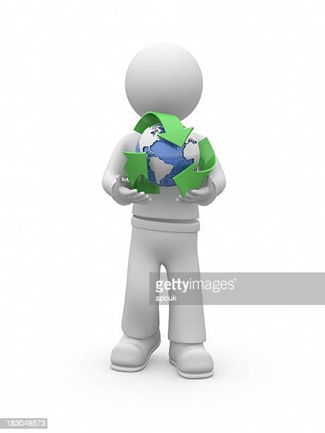 3D guy holding recycle symbol.