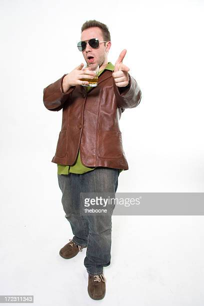 guy in pleather jacket with drink