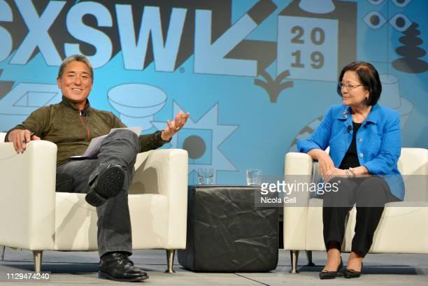 Guy Kawasaki and Senator Mazie K Hirono speak onstage at Featured Session Senator Mazie Hirono with Guy Kawasaki during the 2019 SXSW Conference and...