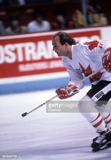 Guy Lafleur of Canada skates on the ice during the 1981 Canada Cup Final against the Soviet Union on September 13, 1981 at the Montreal Forum in...