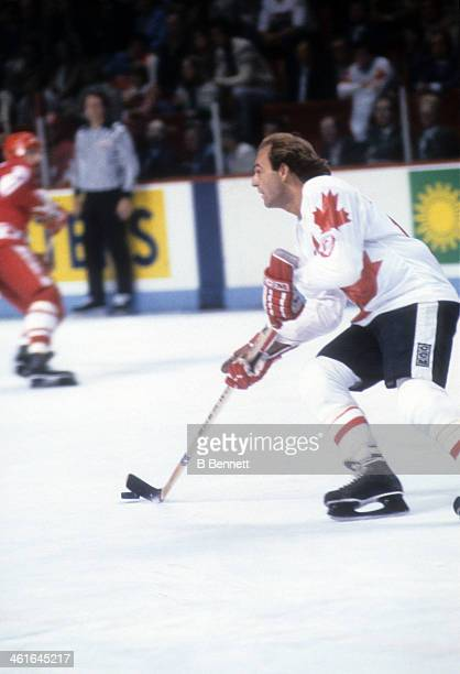 Guy Lafleur of Canada skates with the puck during the 1981 Canada Cup Final against the Soviet Union on September 13, 1981 at the Montreal Forum in...