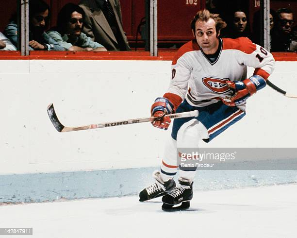 Guy Lafleur of the Montreal Canadiens skates for the puck Circa 1976 at the Montreal Forum in Montreal Quebec Canada