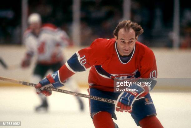 Guy Lafleur of the Montreal Canadiens skates on the ice during an NHL game against the New Jersey Devils circa 1983 at the Brendan Byrne Arena in...