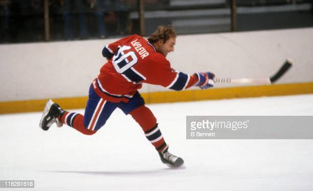 Guy Lafleur of the Montreal Canadiens takes a slap shot during an NHL game circa 1976
