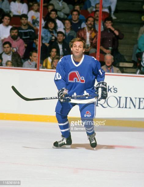 Guy Lafleur of the Quebec Nordiques skates on the ice during an NHL game against the Philadelphia Flyers on October 12 1989 at the Spectrum in...