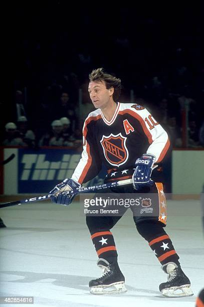 Guy Lafleur of the Wales Conference and the Quebec Nordiques skates on the ice during the 1991 42nd NHL AllStar Game against the Campbell Conference...