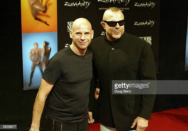 Guy Laliberte and designer Thierry Mugler attend the International Gala Premiere of Zumanity, Another Side of Cirque du Soleil on September 20, 2003...