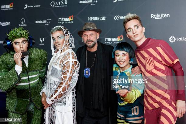 Guy Laliberte poses with the actors on the red carpet during the premiere of 'Messi 10' by Cirque du Soleil on October 10 2019 in Barcelona Spain