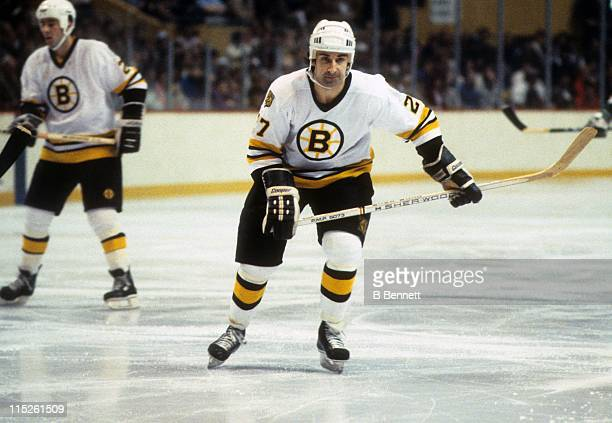 Guy Lapointe of the Boston Bruins skates on the ice during an NHL game against the Minnesota North Stars on December 22 1983 at the Boston Garden in...