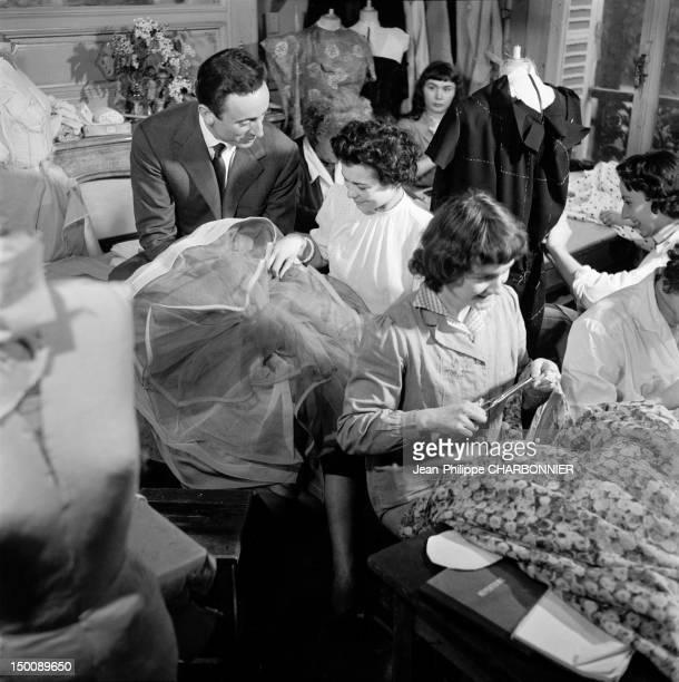 Guy Laroche in his workshop, 1957 in Paris, France.