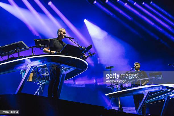 Guy Lawrence and Howard Lawrence of Disclosure perform on the Main Stage during day 2 of Leeds Festival 2016 at Bramham Park on August 27 2016 in...