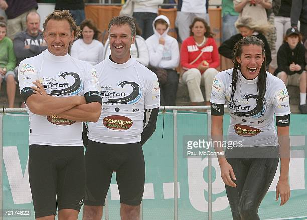 Guy Leech Barton Lynch and Megan Gale take part in the Havaianas Beachley Classic Celebrity Surf Off at Manly Beach on October 15 2006 in Sydney...