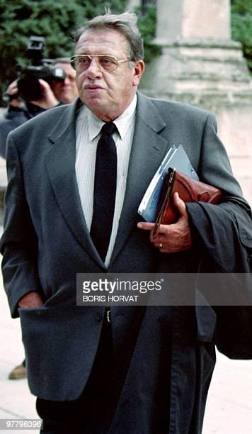 Guy Liautaud homme de confiance de Maurice Arrecks, arrive le 14 octobre 1996 au palais de justice de Toulon, où l'ancien président du conseil...