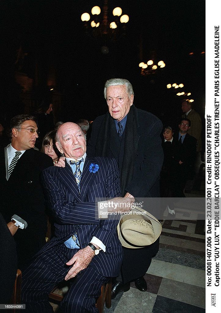 Guy Lux and Eddie Barclay at Charles Trenet Funeral At Eglise ...