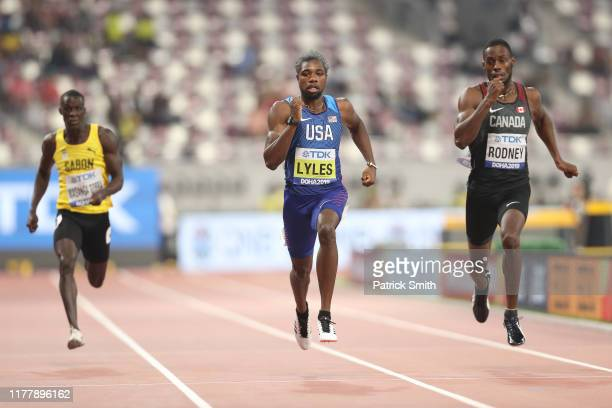 Guy Maganga Gorra of Gabon Noah Lyles of the United States and Brendon Rodney of Canada compete in the Men's 200 Metres heats during day three of...