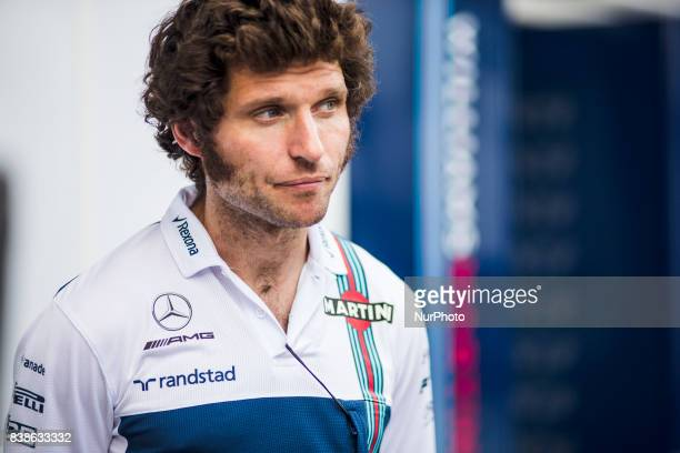 Guy Martin from Great Britain taking part of the Williams mechanics crew during the Formula One Belgian Grand Prix at Circuit de SpaFrancorchamps on...