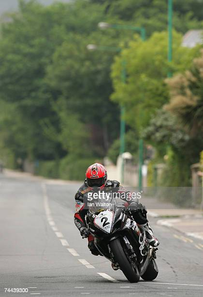 Guy Martin in action during the senior race in the Isle of Man TT Races on June 8 2007 in Isle of Man