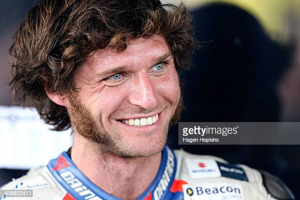 Guy Martin of Great Britain looks on during the Cemetery Circuit Motorcycle Races on December 26 2013 in Wanganui New Zealand