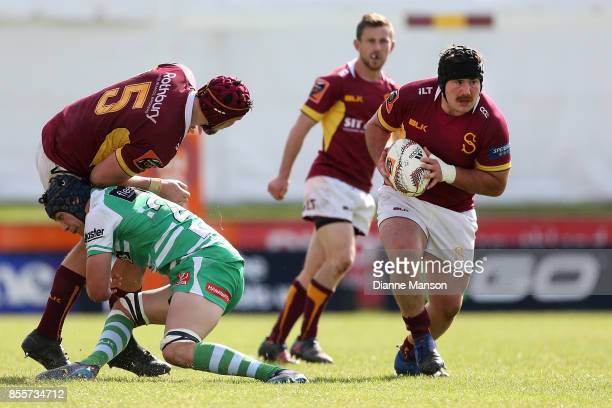 Guy Millar of Southland runs the ball during the round seven Mitre 10 Cup match between Southland and Manawatu on September 30, 2017 in Invercargill,...