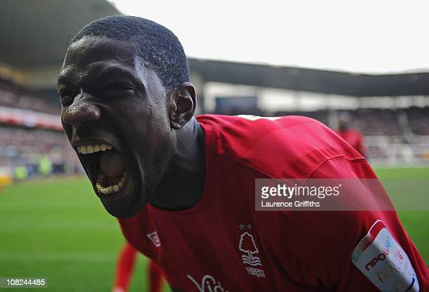Guy Moussi of Nottingham Forest celebrates after Robert Earnshaw scores the winning goal during the npower Championship match between Derby County...