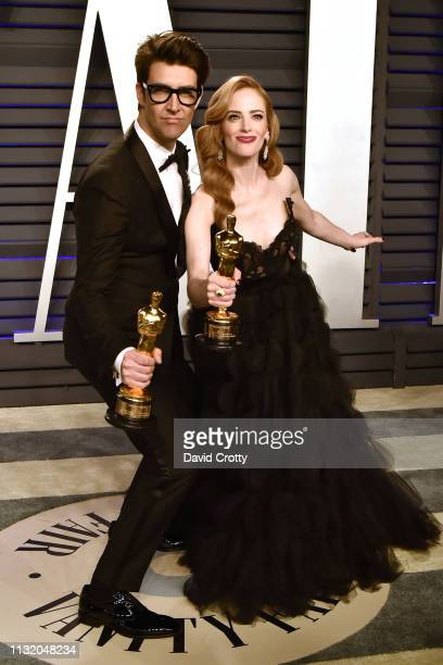 Guy Nattiv and Jaime Ray Newman attend the 2019 Vanity Fair Oscar Party at Wallis Annenberg Center for the Performing Arts on February 24 2019 in...