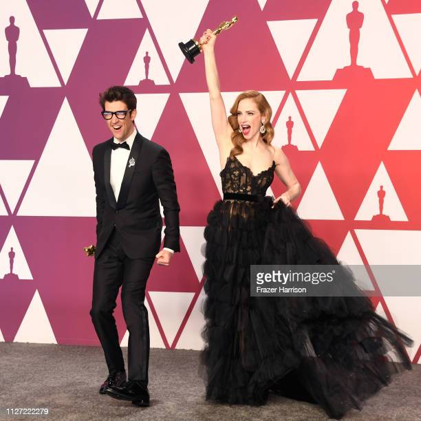 Guy Nattiv and Jaime Ray Newman, winners of Best Live Action Short Film for 'Skin,' pose in the press room during the 91st Annual Academy Awards at...