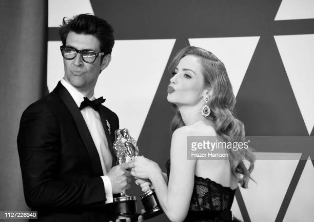 Guy Nattiv and Jaime Ray Newman winners of Best Live Action Short Film for'Skin' pose in the press room during the 91st Annual Academy Awards at...