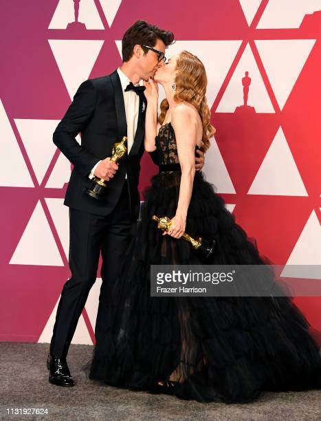 "Guy Nattiv and Jaime Ray Newman, winners of Best Live Action Short Film for ""Skin,"" pose in the press room during the 91st Annual Academy Awards at..."