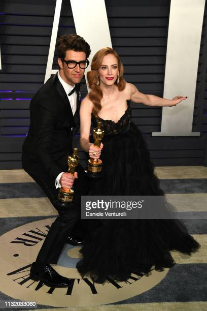 Guy Nattiv and Jaime Ray Newman winners of Best Live Action Short Film for 'Skin' attends 2019 Vanity Fair Oscar Party Hosted By Radhika Jones at...