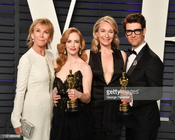 Guy Nattiv his wife US actress Jaime Ray Newman and British actress and producer Trudie Styler with Celine Rattray attend the 2019 Vanity Fair Oscar...