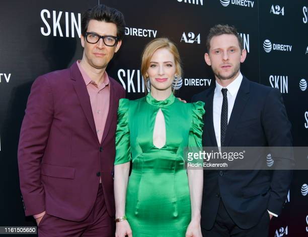 Guy Nattiv Jaime Ray Newman and Jamie Bell attend LA special screening of A24's Skin at ArcLight Hollywood on July 11 2019 in Hollywood California