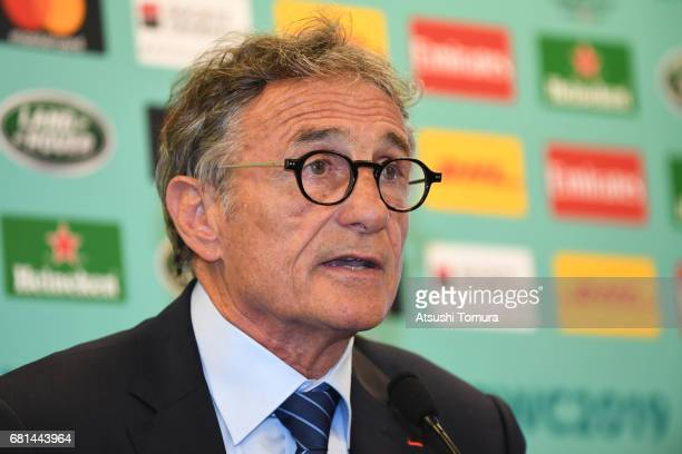 Guy Noves head coach of France attends a press conference after the Rugby World Cup Pool Draw at the Kyoto State Guest House on May 10 2017 in Kyoto...