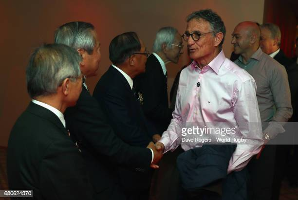 Guy Noves head coach of the French national rugby team is welcomed during the pre Rugby World Cup Japan 2019 reception held at the Hyatt Regency...