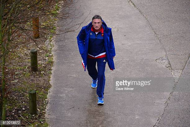 Guy NOVES of France during the French Rugby Union team training session at Centre national de rugby ahead of their six nations match against Wales on...