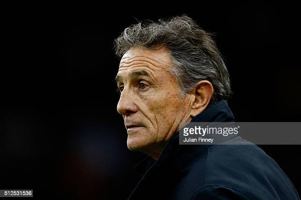 Guy Noves the head coach of France looks on during the RBS Six Nations match between Wales and France at the Principality Stadium on February 26 2016...