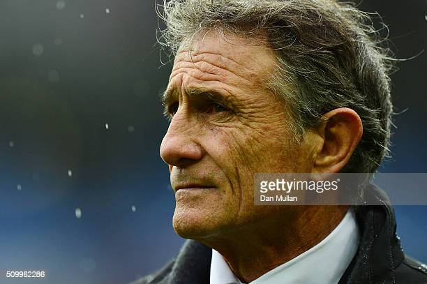 Guy Noves the head coach of France looks on prior to kickoff during the RBS Six Nations match between France and Ireland at the Stade de France on...