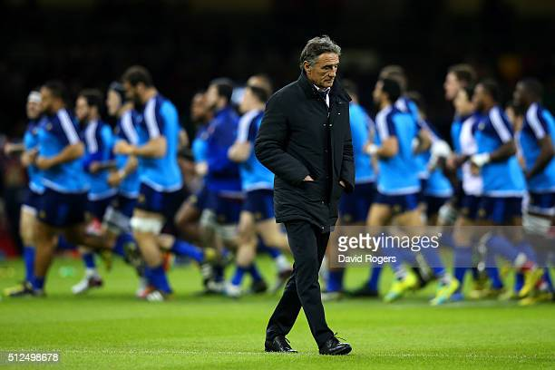 Guy Noves the head coach of France looks on prior to kickoff during the RBS Six Nations match between Wales and France at the Principality Stadium on...