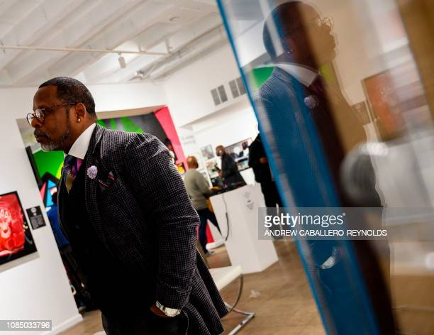 Guy O'Brien aka Master Gee from the Sugarhill gang looks at memorabilia at the HipHop Museum Pop Up Experience in Washington DC on January 19 2019...