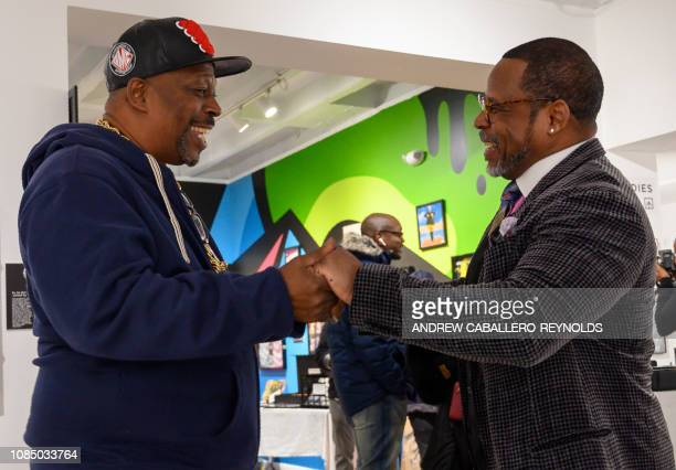 Guy O'Brien aka Master Gee from the Sugarhill gang speaks with Curtis Fisher aka Grandmaster Caz at the HipHop Museum Pop Up Experience in Washington...