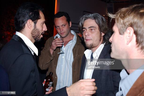 Guy Oseary Vince Vaughn and Benicio del Toro during PlayStation2 Guy Oseary 30th Birthday Party in Los Angeles California United States