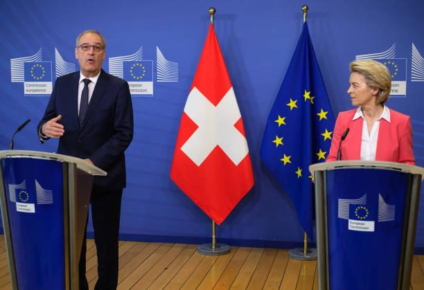 BEL: European Commission President Ursula von der Leyen Meets Switzerland's President Guy Parmelin