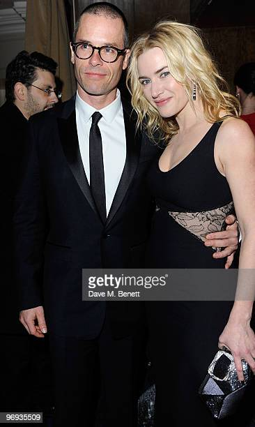 Guy Pearce and Kate Winslet arrives for the dinner following the Orange British Academy Film Awards 2010 at The Grosvenor House Hotel on February 21...
